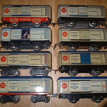 MarX Toy Company refrigerated boxcar Colorado and Southern variations - Model Trains
