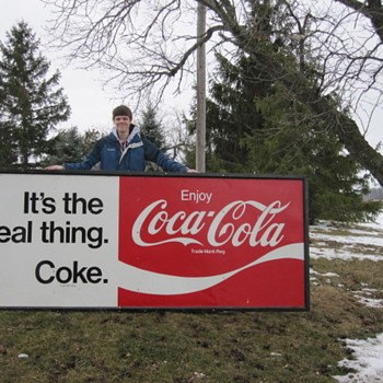 Huge Coca-Cola Tin Sign ( Its The Real Thing ) - Coca-Cola