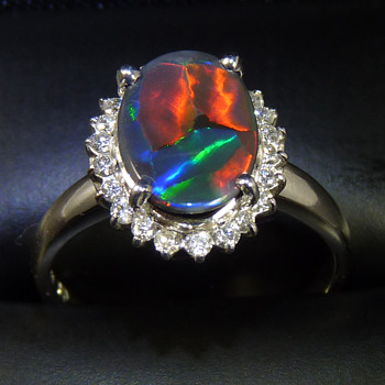 1.9ct Black Opal - rescued from an old stick pin, and set in a ring with a halo of diamonds - Fine Jewelry