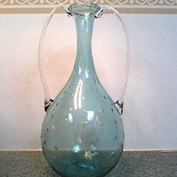 "Murano Bullicante (air bubble pattern) 12"" Handled Vase in Seafoam Green /Circa 1960's - Art Glass"