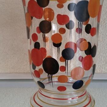 enamel painted art deco vase - Art Glass