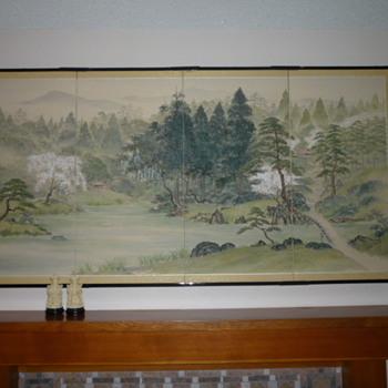 Four Panel Oriental Screen - Asian