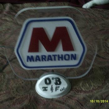 Light up Marathon desk sign