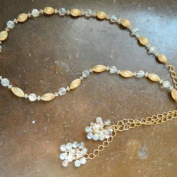Lisner aurora borealis crystal beaded belt - Costume Jewelry