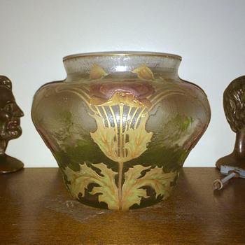 Huge Harrach for Legras Enamelled Acid Etched Gilt Bowl Vase  - Art Glass