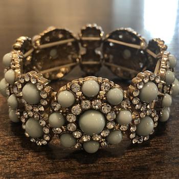 Gold Bracelet Pale Blue/Rhinestone. Vintage Costume? - Costume Jewelry