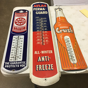 Three old original thermometers found yesterday at a sale. - Advertising