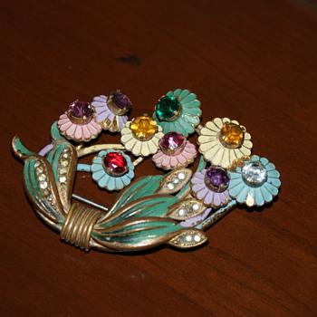 Large Vintage Rhinestone/Enamel Brooch - Costume Jewelry