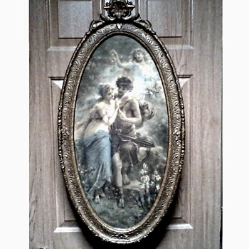 "Beautiful Victorian Neo Classical ""Chromo"" Print in Ornate Oval Barbola Frame /Unknown Artist / Circa early 1900's"