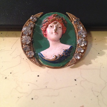 Hand painted bust with two crescent moons  - Accessories