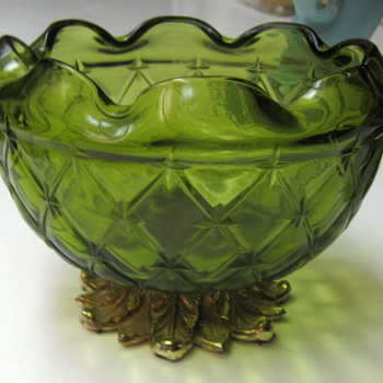 Vtg Green Footed Bowl - Glassware