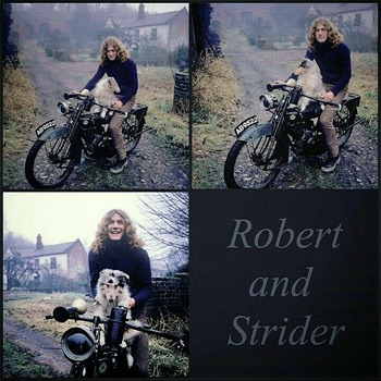 Robert & Strider w/ English motorcycle  - Motorcycles