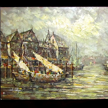 "Impresionism painting ""H Nelson""? boats - Europe?  - Fine Art"