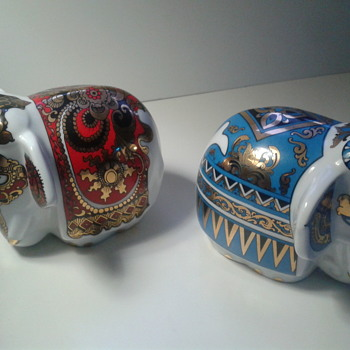Pair Vintage Porcelain Elephant Tea caddies  - Animals