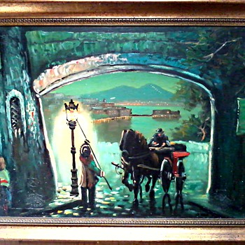 """The Lamp Lighter"" / Oil On Canvas 23"" x 31"" Framed / Circa 1960-70 - Fine Art"