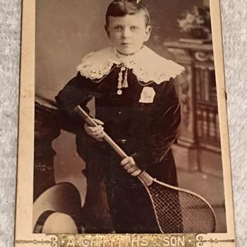 Victorian (England) --BOY WITH TENNIS RACKET  CDV