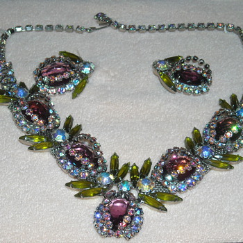 Vintage Insect Rhinestone Necklace and Earring Set - Costume Jewelry