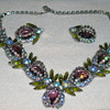 Vintage Insect Rhinestone Necklace and Earring Set