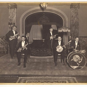 Four Early/Vintage Big Band Photographs -Two Signed