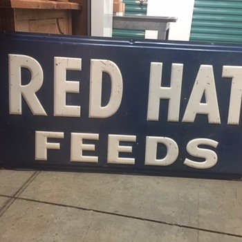 RED HAT FEEDS Sign - Signs