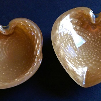 Murano Barbini Clam and Heat Shaped Ashtrays