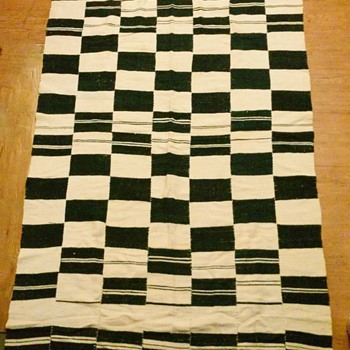 1960's Hand sewn & woven strip blanket African? Peruvian? - Rugs and Textiles
