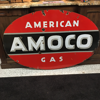 Standard Oil 1930's-1940's AMOCO double-sided porcelain sign - Signs