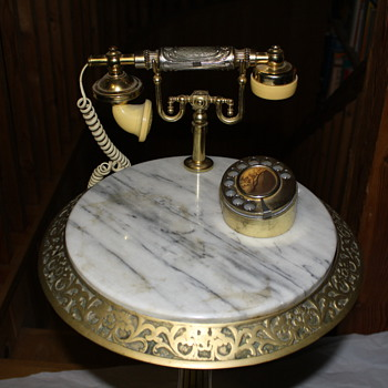 Replica Princess Phone on Brass & Marble Pedestal