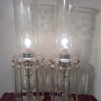 pair of crystal candlestick lamps w/prisms - Lamps
