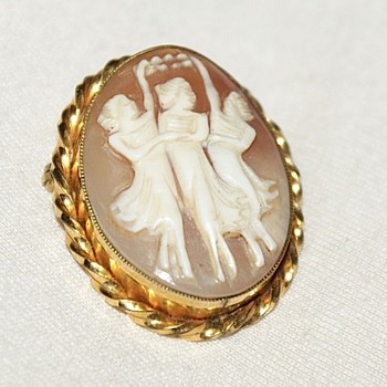 Hand Carved Vintage Cameo, Gold Filled, Rainbow, 1950's:  The Three Graces - Fine Jewelry