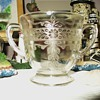 S Pattern Stippled Rose Band Clear Depression Glass