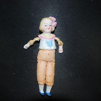 bisque, oil cloth doll - Dolls