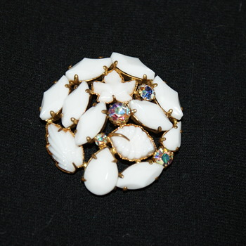 Vintage Costume Brooch With Milk Glass and AB Stones  - Costume Jewelry