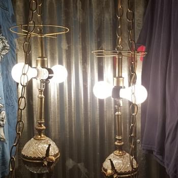 Vintage antique chain hanging lamps  - Lamps