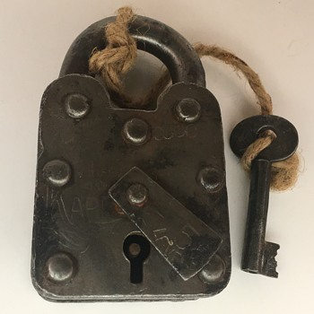 Antique Shackle Padlock with Barrel Key - Tools and Hardware