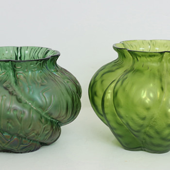 Two Bohemian Glass Vases - Same Maker, but Unknown? - Art Glass