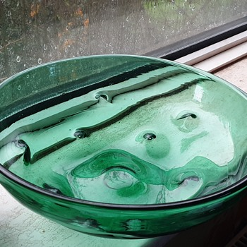 Vintage Green Glass Bowl?? - Art Glass