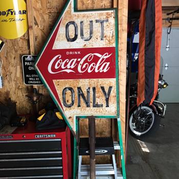 500th post...Drink Coca-Cola Double-Sided Tin Arrow...Out Only  - Coca-Cola