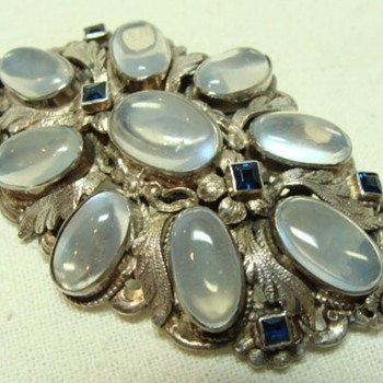 Large Moonstone and Sapphire Brooch