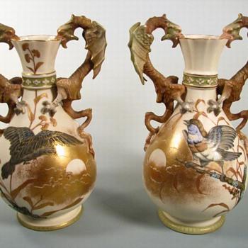 Antique Stellmacher Dragon Handled Vases - Pottery