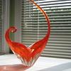 Lorraine glass clear/orange sommerso basket