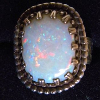 Antique Victorian Huge Fire Opal Mens Etched Sterling Ring Sz 11  - Fine Jewelry