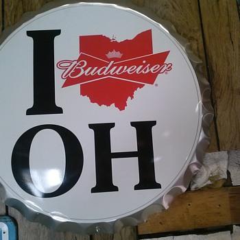 i love oh Budweiser sign