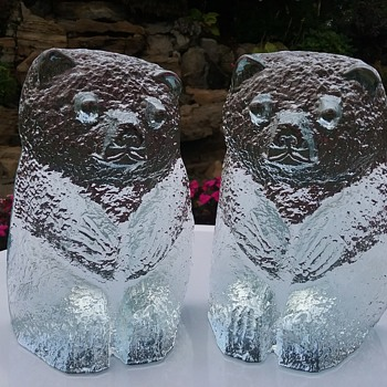 Blenko Glass bear bookends  - Animals
