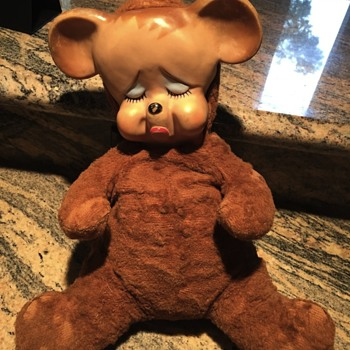 Late 50's, early 60's bear with soft rubber pouty face - Animals