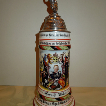 Imperial German Reservist's stein of Hornist Miller, 119th Wurttemberg Grenadiers