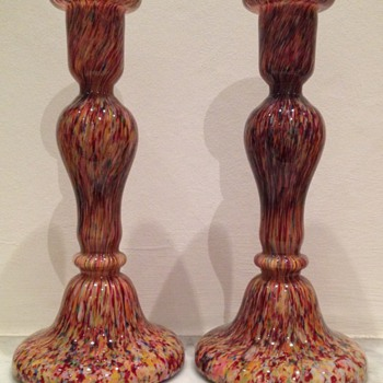 Welz spatter glass candlestick pair - Art Glass