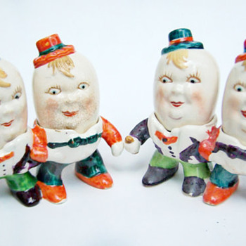 Vintage Salt and Pepper Shakers Occupied Japan RARE Ardalt Humpty Dumpty Shakers  - Kitchen