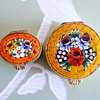 Vintage Yellow Gold Tone Brass Italian Multi Colored Floral Micro Mosaic Trinket Pill Box Boxes