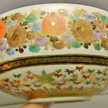 "Japanese Meiji-Era Satsuma ""1000 Butterflies"" Bowl - Asian"